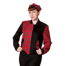 Banned Apparel Half Black Half Red Tartan Jacket