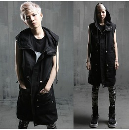 2016 Street Fashion Men's Casual Long Hooded Vest
