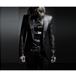 Men's Glamorous Stylish Black Snake Skin Suit Outwear P0000 Txc