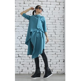 Asymmetric Green Shirt / Shirt Dress / Plus Size Top / Long Green Tunic