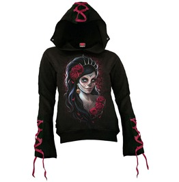 Women New Black Day Of Dead Red Ribbon Gothic Hoody