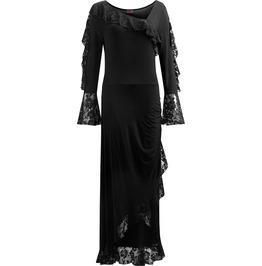 Goth Fashion Women Black Lace Drape Asymmetric Neck Long Dress