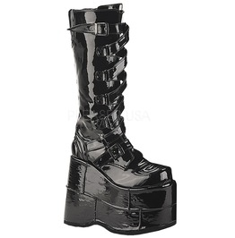 Demonia Stack 308 Black Pat Platform Cybergoth Club Kid Cyberpunk Boots