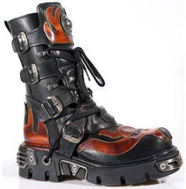 New Rock M.107 S1 Gothic Industrial Biker Punk Cybergoth Metal Buckle Boots