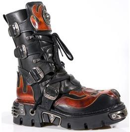 New Rock M.107 S1 Gothic Industrial Biker Punk Cybergoth Metal Buckle Boots