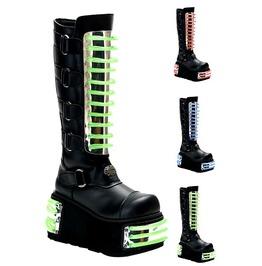 Demonia Techno 854 Uv Reactive Platform Cybergoth Club Kid Cyberpunk Boots