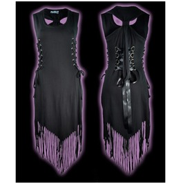 Black Lace Up Dress Poizen Industries Gothic Alternative Fringed Hem