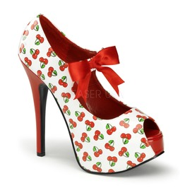 Pin Up Couture Teeze White Red Patent Peep Toe Heels With Cherries Print