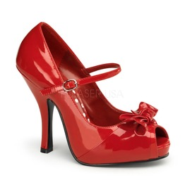 Pin Up Couture Cutiepie Red Patent Peep Toe Heels