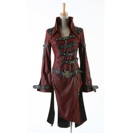 Gothic Goth Steampunk Vampire Military Style Red Jacket Coat