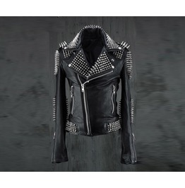 Sheepskin Hedgehog Genuine Goat Leather Rider Jacket