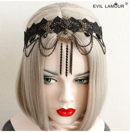 Handcraft Black Lace Tassels Ancinents Gothic Handband Fd 32