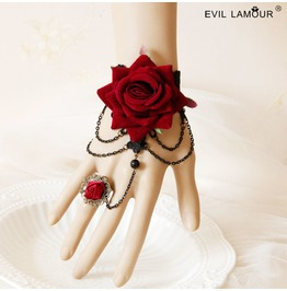 Red Rose Tassels Gothic Bracelet And Ring W 34