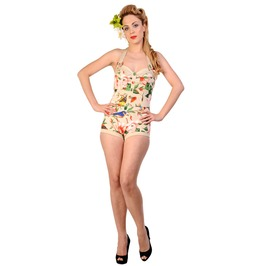 Banned Apparel Beige Birds Playsuit