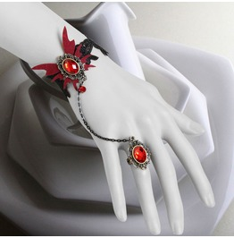 Handcraft Red Jewel Butterfly Vampire Gothic Bracelet And Ring Ws 70