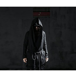 Men's Linen Rope Medieval Hood Coat Rock Chic Punk Emo
