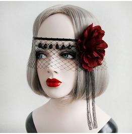 Handcraft Black Lace Red Flower Vampire Gothic Hand Mask G 1