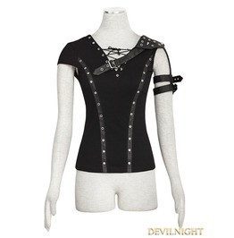 Black Armor Shoulder Gothic T Shirt For Women