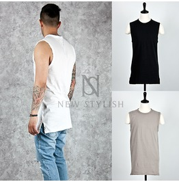 Side Incision Accent Washing Cotton Tank 66