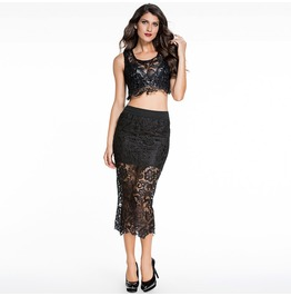 Women's Sheer Black Lace Tops With Lace Skirt Two Pieces