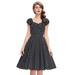 Vintage 50s Polka Dots Evening Party Short Retro Dresses