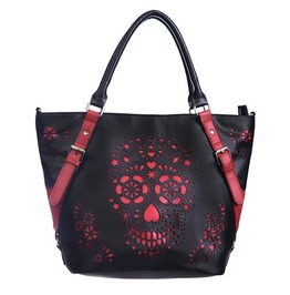 Banned Red Sugar Skull Shoulder Bag Handbag Gothic Punk Rockabilly