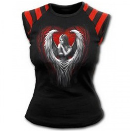 Angel Heart Print Gothic Alternative Punk Rock T Shirt Red Stripes Emo
