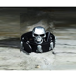 Men's Fashion Casual Black Leather Metal Skull Studded Belt