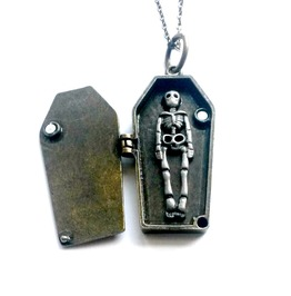 Coffin Locket Vampire Skeleton Necklace Handmade Gift By Aunt Matilda