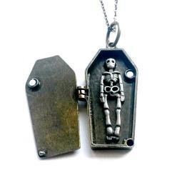 Coffin Locket Vampire Skeleton Necklace Handmade Gift By Aunt Matilda