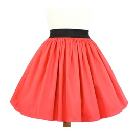"""Lindy"" Coral Red A Line Pleated Skirt"