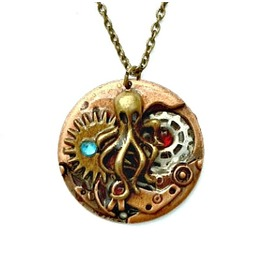Steampunk Octopus Pendant Gears Copper With Bronze Cthulhu Original Design
