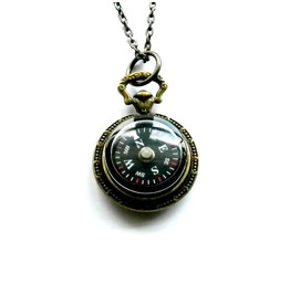 Compass Necklace Nautical Brass Handmade Gift By Aunt Matilda's Jewelry Box