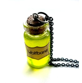 Wolfbane Potion Necklace Steampunk Vial Handmade Gift By Aunt Matilda