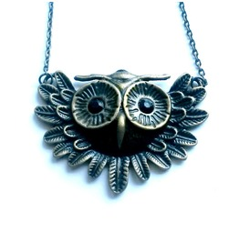 Owl Necklace Steampunk Flying Hedwig Owl Handmade By Aunt Matilda