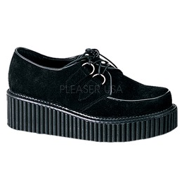 Demonia Creeper 101 Platform Black Suede Emo Goth Cyber Rockabilly Shoes 6