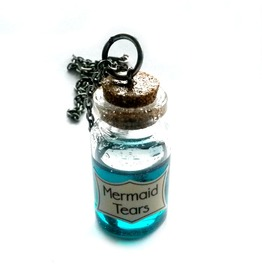 Mermaid Tears Potion Necklace Steampunk Vial Handmade Gift By Aunt Matilda