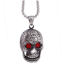 Red Crystals Eyes Skull Pendant Necklace