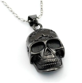 Black Skull Head Pendant Necklace