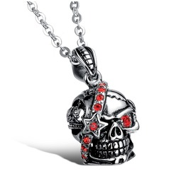 Red Crystal Studded Skull Pendant Necklace