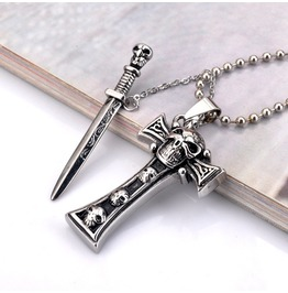 Sword Cross Skull Pendant Necklace