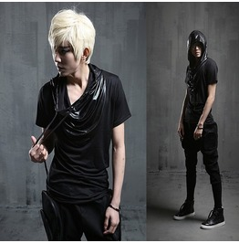 New Arrival Faux Leather Spliced Men's Hooded Summer Tops Tshirts