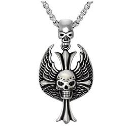 Wing Cross Skull Pendant Necklace