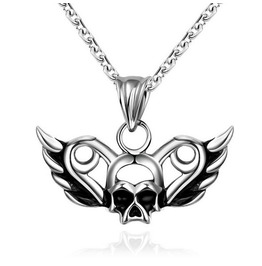 Skull Wings Pendant Necklace