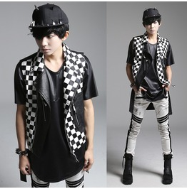 New Fashion Black White Plaid Men's Hip Hop Vest