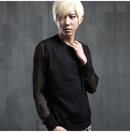 New Street Fashion Men's Black Hollow Out Long Sleeve Shirts