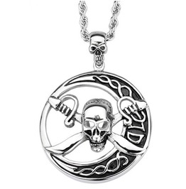 Cross Sword Skull Pendant Necklace