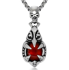 Gothic Four Claws Red Bead Skull Pendant Necklace