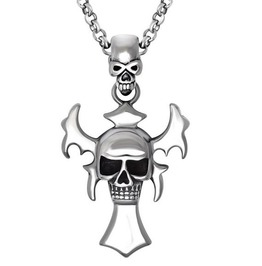 Skull Blade Cross Pendant Necklace