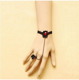 Handcraft Black Rose And Lace Ruby Gothic Bracelet W 28